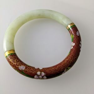Vintage Estate Jade Cloisonne Bangle Bracelet